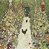 Artland Qualitätsbilder I Bild auf Leinwand Leinwandbilder Wandbilder 40 x 40 cm Tiere Vögel Huhn Malerei Bunt B5MJ Gartenweg mit Hühnern