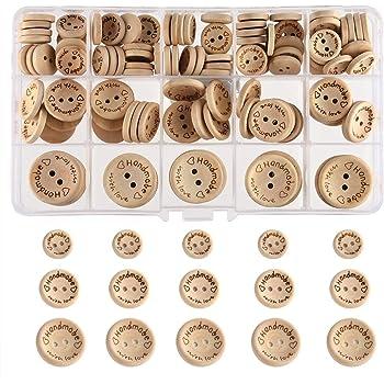 100pcs 20mm handgemachte hölzerne Knöpfe mit Liebe runder hölzerner