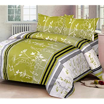 IWS Luxury Printed 140 TC Cotton Double Bedsheet with 2 Pillow Covers - Green