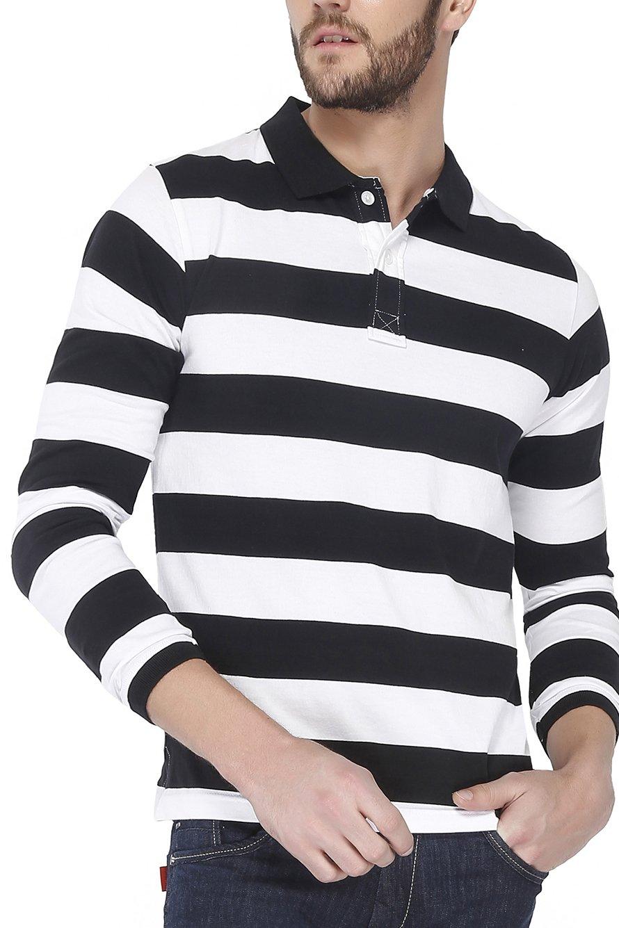 42f84ee99ff The Cotton Company Men s Cotton Bretton Stripe Full Sleeve Polo T Shirt –  Black   White