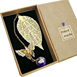 Toirxarn Marque-page de feuille de métal exquis, avec papillon 3D et perles de verre Pendentif fleur sèche éternelle. Cadeau