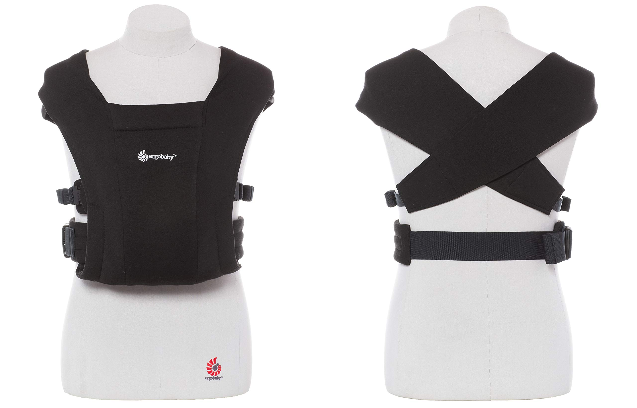 """ErgobabyEmbraceBaby Carrier for Newborns from Birth with Head Support, Extra Soft and Ergonomic (Pure Black) Ergobaby ERGONOMIC BABY CARRIER FROM BIRTH - Carry your newborn baby (3.2 - 11.3kg) snuggled close to you. The baby carrier supports the ergonomic frog-leg position (""""M"""" shape position) of the baby. NEW - The Ergobaby Embrace 2-position Carrier has been specially developed for newborns and babies. A baby carry system for quick and easy use. ULTRA-LIGHT & SUPER SOFT - Less material against the child and open-sided to allow good air circulation. Made from super soft jersey fabric, Oeko-Tex100 certified. Lightweight carrier (approx. 480g). 8"""
