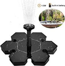GreenCoves Solar Fountain Pump,1.5W Floating Solar Water Pump Fountain Pump Battery Backup for Garden,Fish Tanks, Pond,Aquarium,Decoration (Battery Backup)
