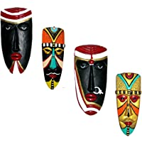 Hand Art Terracotta Handcrafted Decorative Hanging Tribal Mask for Wall and Room Decor, 8x3.5x0.5 Inches(Multicolour)