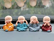 GS Grow n Shine Car Dashboard Accessories Monk Set of 4 Handcrafted Miniature Decorative Buddha Monk Figurines Showpiece for car,Home