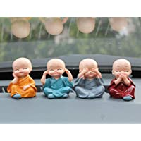GS Grow n Shine Car Dashboard Accessories Set of 4 Handcrafted Miniature Decorative Buddha Monk Figurines Polystone…
