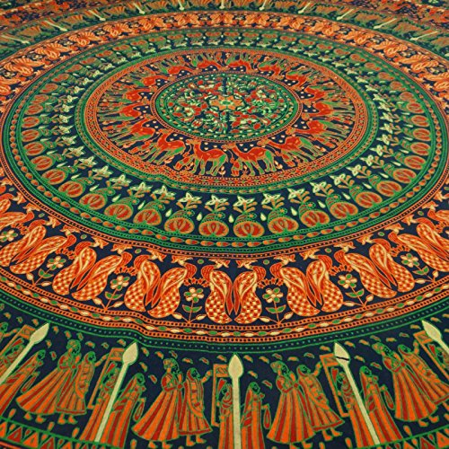 Mandala Indian Wall Hanging Cotton Tapestry Twin Green Boho Décor Throw 84 x 56 Inches