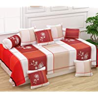 Teyja collections Super Soft Glace Cotton Designer Beautiful Diwan Set(1 Diwan Sheet, 2 Bolster Covers and 5 Cushion Covers)(White)