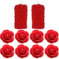 Shraddha Creation Paraffin wax Scented Candle, Pack of 10, Rose