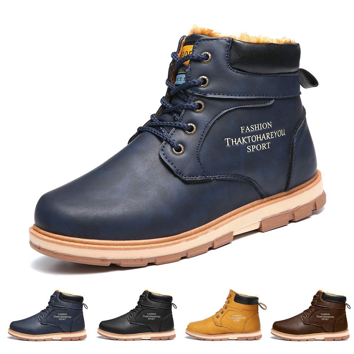 Gracosy Bottes Homme Hiver Fourrure, Chaussure de Ville Bottines à Lacets en Nubuck Imperméable Bottines de Neige Fourrées Chaude Confortable Boots