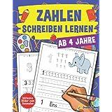Nauka pisania liczb od 4 lat: duży blok przedszkolny i kolorowanka do nauki pisania numerów. Idealnie nadaje się dla dzieci o