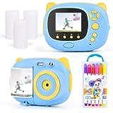 Kids Camera Digital Camera Instant Print Camera USB Charging Mini Toddler Camera Suitable for 3-12 Year Old Boys Grils…