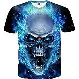 Lenfesh 3D Cráneo Graphic Estampado Camisa de Manga Corta para Hombres Baratas Divertidas chulas Camiseta de Impresión Camise