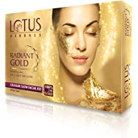 Lotus Radiant Gold Facial Kit for instant glow with 24K Pure Gold & Papaya ,4 easy steps 148g (4 use)