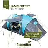 Skandika, Hammerfest, Tenda per Famiglie, 4 Persone, Tenda a Cupola, con 2cabine di Riposo, Altezza in Piedi 200cm