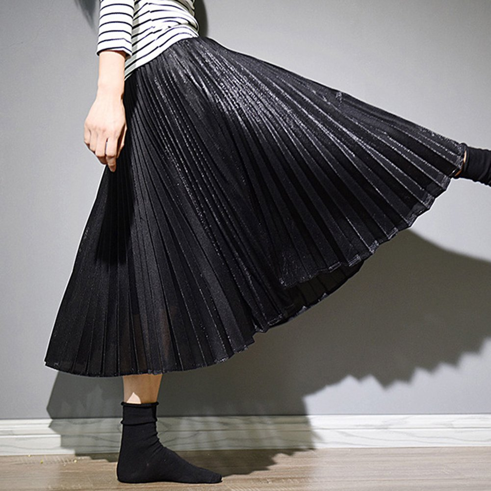 Women High Waist Pleated Slim Metallic Luster Bright Long Skirts Black L:  Amazon.co.uk: Clothing