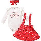 Borlai 0-12M Bebé Niños Niñas Mi 1Er Día de San Valentín Conjunto de Ropa Corazones Lindos Trajes Impresos 3 Unids/Set