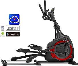 AsVIVA Ellipsentrainer Ergometer E4 mit App-Bluetooth Steuerung, integrierte Handpulssensoren – Heimtrainer mit elliptischem Bewegungsablauf Sowie XL Safety Anti-Rutsch Pedale