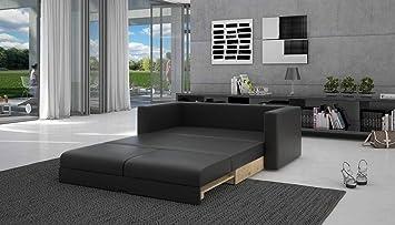 Schlaf Sofa Mit Kunstleder In Schwarz 120x200 Cm