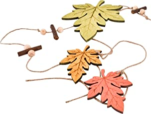 Dadeldo Living & Lifestyle Girlande Blätter Herbst Deko Holz 80x12cm grün orange Halloween