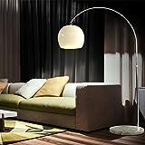 CCLIFE Lampe Lampadaire à arc salon courbée, Lampe arceau moderne en chrome Lampadaire sur pied marbre, Couleur: Blanc, régla
