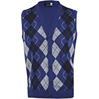 Clothing Unit Mens Argyle V-Neck Sleeveless Sweater Button Tank Top Golf Casual Cardigan S-2XL