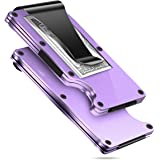 MUCO Credit Card Holder Wallet RFID Protection Lightweight Metal Travelling Daily Mens Womens Security Money Clip Purple