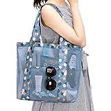 LIOOBO Women Candy Flower Clear Transparent Handbag Shoulder Vegetable Bag Beach Outdoor Travel Storage Bag (Sky Blue)