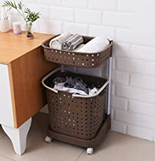 Laundry Basket By House of Quirk Plastic collapsible folding bathroom clothes storage basket with wheels