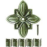FUXXER® - 50 x antieke decoratieve nagels, sierkopnagels, meubelnagels, vintage messing brons antieke look, bloem, 30 x 27 mm
