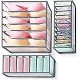 Tiroir organisateur 3 pièces pour sous-vêtements, organisateur de garde-robe à boîte pliante, avec compartiments 6/7/11, pour