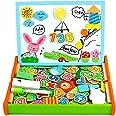 Juguetes Montessori Puzzles Infantiles Madera con Alfabeto Magnetico,Pizarra Magnetica Doble Cara Juegos Educativos Regalos d