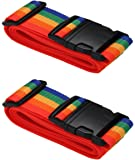 [2 Pack] Koffergurt Farbig - Verstellbare Kofferband - Gepäckgurt 5 * 180 cm - Zum sicheren Versließen der Koffers auf…