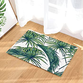 Lb Feuilles De Palmiers Tropical Jungle Monstera Floral Motif Blanc