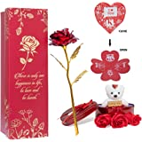 Next Bazaar Artificial Flowers (Red, 1 Teddy, 1 Heart shape greeting card , 1 heart shaped metal box and 3 PCS Artificial ros