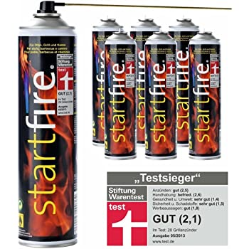 6x STARTFIRE Grillanzünder Spray 600ml Kaminanzünder Grill Kamin Anzünder Feuerspray
