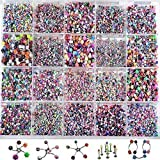110pcs Colorful Mixed Body Piercing Eyebrow Belly Tongue Bar Ring Whithout Box