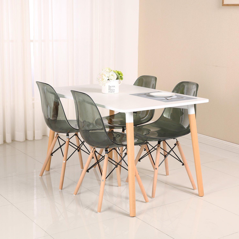 4 silla pl stico de comedor sal n cocina transparente