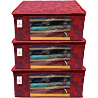 Kuber Industries Metalic Flower 3 Piece Non Woven Saree Cover Set, Large, Red