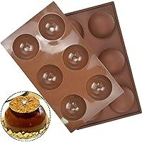 2pcs Moule Forme Demi Sphère, 12 Cavité Grand Moule a Dome Silicone, 7cm Moulle Silicone Chocolat Rond, Moule en Semi…