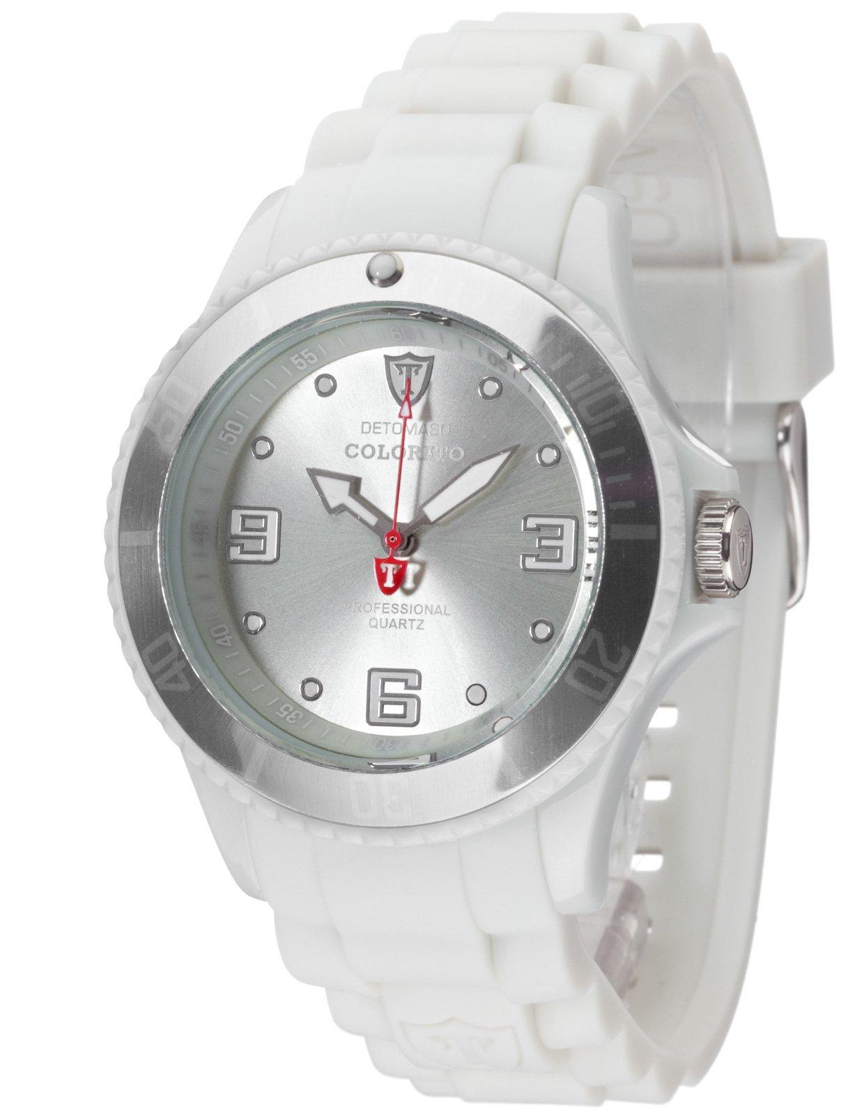 Detomaso DT3007-W – Reloj analógico de Cuarzo para Mujer, Correa de Silicona Color Gris (Agujas luminiscentes, Cifras luminiscentes)