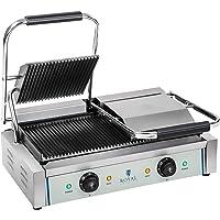 Royal Catering Machine à Panini Burger Nervurée RCKG-3600-G (2x1.800W, 230V, supérieur plaque de cuisson 21,4x21,4cm…