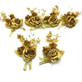 SATYAM KRAFT Artificial Golden Glitter Flowers for Home Decoration and Craft (6 Pieces)