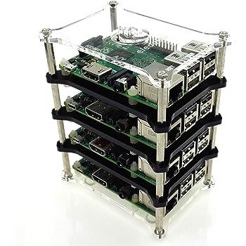 Mepro Raspberry Pi 3 Model B Stack Clear Gehäuse Enclosure Box Support Raspberry Pi 2B/B+/B/A+ (4-layer)