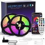 Riwnni Dreamcolor ledstrip, 10 m, RGB ledstrip met ingebouwde IC, Bluetooth ledstrips, bestuurbaar via app, synchronisatie me