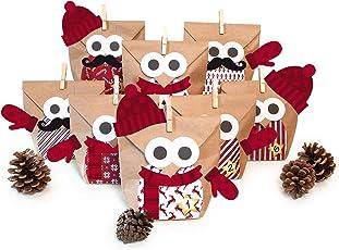 Pajoma DIY Adventskalender Bastelset Christmas Owl red mit Extras, 24 Kraftpapiertüten zum Basteln & Befüllen, kein Schneiden notwendig, Weihnachten