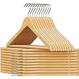SONGMICS Set de 20 Perchas de Madera de arce Multifuncionales con Barra para Pantalones, Gancho Giratorio a 360°, Gancho Crom