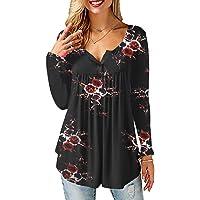 Tuopuda Magliette Donna T-Shirt Ruffle Design Camicette Scollo a V Pullover Maglie a Maniche Corte/Manica Lunga Bottone…