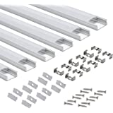 Profilé Aluminium LED - AP03 Aluminium Profilé U-forme pour Bandes à LED, Compact Finition Professionnelle avec Blanc Laiteux