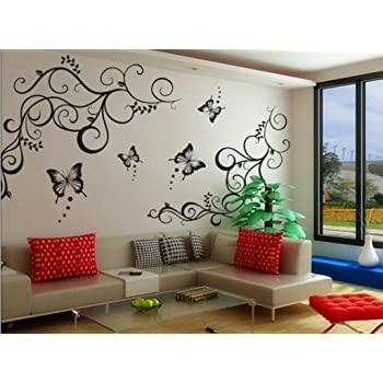 Decals design lovely butterflies wall sticker pvc vinyl 60 cm x 90 cm black